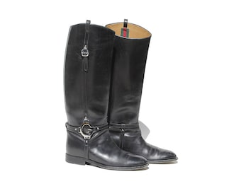 Gucci Charlotte Black Leather Riding Boots / size 7