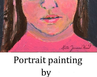 Acrylic Portrait Painting. Original Art. Female Girl Face. Bold Orange Colors. 4x4 Mini Painting. Gift for her