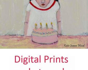 Little Girl Happy Birthday Print. Portrait Art Painting Print. Child Wall Decor. Birthday Gift for Her.