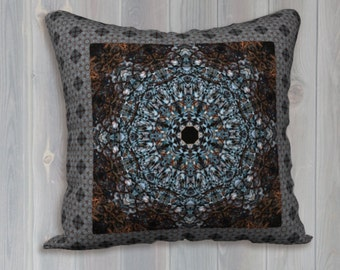 Blue and Brown Intricate Mandala and Tile Velveteen Throw Pillow Cover