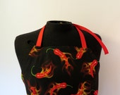 Full Apron - Flaming Peppers - with extra-long ties