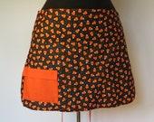Half Apron - Candy Corn  (Extra Long Ties) Solid Orange Pocket