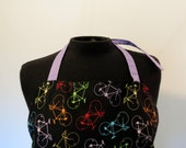 Full Apron - Large - Bicycles - with purple pockets and ties