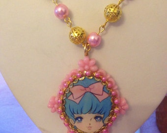 20% OFF Blue Haired Vintage Anime Girl Pendant Plastic Pearl Necklace