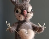 Tiny Needle Felted Spring Bunny with Heart - Handmade Valentine I Have a Heart For You