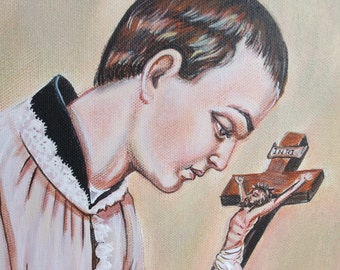 """St. Aloysius Gonzaga with Crucifix Catholic Art Painting on canvas 11x 14"""""""