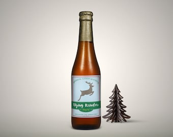 INSTANT DOWNLOAD (Digital) Flying Reindeer Brew Christmas Beer Label - Magical Lichen Reserve in Light Blue, Red, and Green
