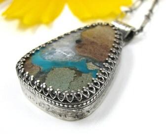 Gem Silica Quartz Jasper Necklace - Sterling Silver Gem Silica pendant with flower pattern - sterling silver gemstone necklace with patina
