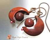 Crescent Moon Gemstone Earrings. Rustic Boho Dangles. Russet Red Poppy Jasper Stones. Cosmic Statement Jewelry. Oxidized Antiqued Copper