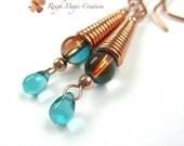 Aqua Teal Copper Earrings. Long Dangle Earrings. Boho Jewelry. Wire Wrapped Beads. Teardrop Earrings. Two Tone Earrings. Bohemian Statement