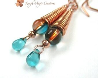 Aqua Teal Copper Earrings, Long Dangle Earrings, Boho Jewelry, Wire Wrapped Beads, Teardrop Earrings, Two Tone Earrings. Boho Gift for Women