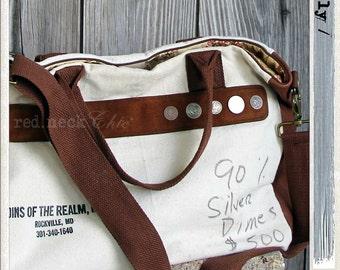red.neck Chic introduces: /em.i.ly/ the money bag / pocketbook / purse / tote bag / weekender / laptop bag / canvas bank bag / vintage coin