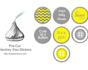 Cute as a Button Baby Shower Favor - 88 Hershey Kiss Labels - Stickers for Candy Kisses