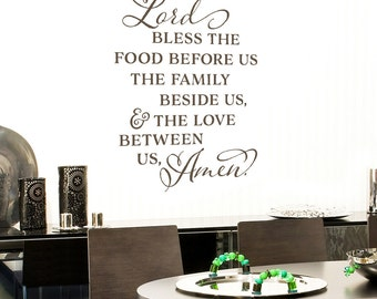 Lord bless the food before us Vinyl Wall Decal Kitchen Quote Dining Room Wall Art