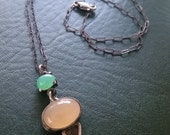 Chrysoprase and Peach Moonstone in Oxidized Silver