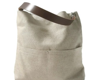 Bucket Bag, Hobo Tote Bag, Natural Handbag, Purse, Casual Bag, Simple, Bag, Shoulder Bag, Day Bag, Linen Bag, Summer Bag