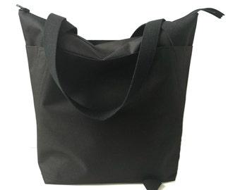Black Bag, Black Tote Bag, Nylon Carry All, Zippered Tote Bag, Travel Bag, Diaper Bag,Weekend Bag, Shoulder Bag, Handbags, Large Tote Bag