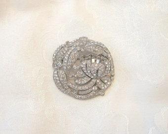 Vintage Floral Brooch Rhinestone Crystal Rhodium Plated Restored
