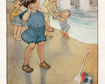 Vintage 1920's Girl Listening to Seashell at the Seaside with Children Illustration Bookplate Print by Ruth  Hallock