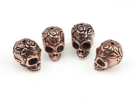 Sugar Skull Beads - Antique Copper Beads - TierraCast Rose Skull Day of the Dead Dia de los Muertos Supplies Halloween Creepy  (P933)