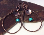 Large Copper Teardrop Hoop Earrings Turquoise Earrings Hand Stamped Arrows