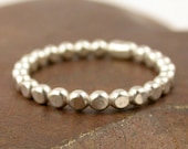 Sterling Silver Heavy Beaded Stack Ring Band - Made to Order