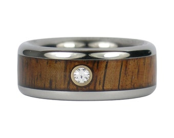Koa Wood Diamond Titanium Ring