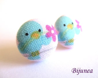 Bird earrings - Bird flower stud earrings - Bird pink flower studs - Bird post earrings sf1327
