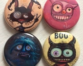 "BUTTONS - Nice Monsters - set A, 1"" original HaggisVitae art, set of 4"