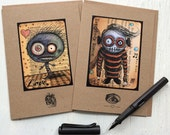 "SET OF 2 - Creepy Creatures cards with envelopes 5"" x 7"""