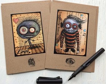 """SET OF 2 - Creepy Creatures cards with envelopes 5"""" x 7"""""""
