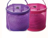 Set of 2 Yarn Storage Bags / Yarn Cases: Fuchsia and Purple, Round Plastic Baskets for Knitting Yarn for On-the-go-knitter