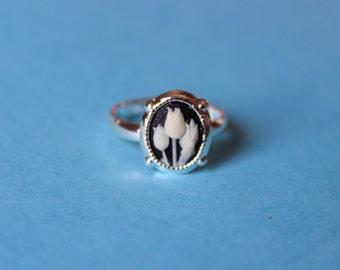 Tiny Black Tulips Silver Dainty Cameo Ring