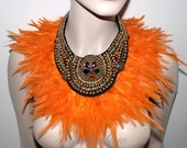 Egyptian sun goddess orange feathers gold beaded statement bib collar Necklace high fashion tribal fusion warrior couture