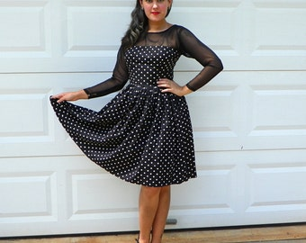 1950s Style Vintage Black and White Polka Dot Dress with Pleated Full Skirt Sheer Neckline Keyhole Back Swing Dance Dress Size Small