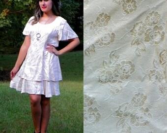 SALE 1990s Vintage Pale Pink Satin Brocade Shift Dress Tierred Tie Back Sack Dress Size Medium