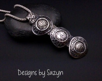 Sterling silver long pendant, hand-crafted, oxidized, designsbysuzyn