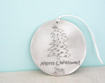Gift for Her - Personalized Christmas Tree Ornament - Childs Handwriting Ornament -  Handwritten Ornament - ACTUAL Handwriting - Wedding