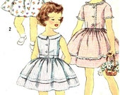 Vintage 1950s Girls Dress Size 6 Simplicity 3457 Sewing Pattern 50s