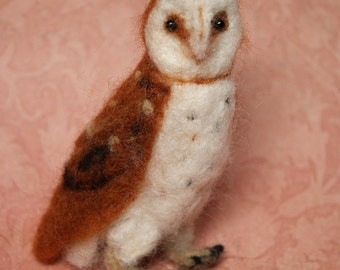 OOAK Needle Felted Barn Owl Fiber Arts Collectible Miniature Stuffed Animal , Doll's Pet, home decoration, baby gift, nature