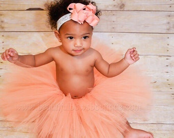 Coral Peach Baby Tutu,Handmade Peach Cake Smash Tutu and Hair Bow,Coral Baby Tutu Skirt,Peach Tulle Birthday Skirt for Toddlers and Babies