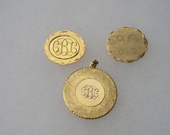 Three Engraved Initial Pins Pendant Lot LaMode