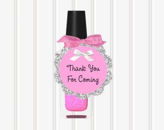 Baby Girl Shower Gift Tags Thank You Favor Tags Pink Glitter DIY Printable Instant Download