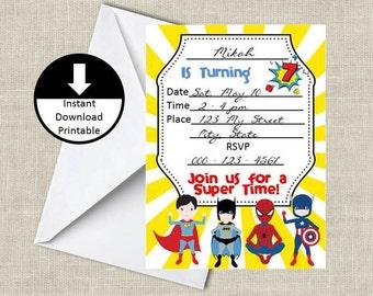 Super Boy Hero Birthday Party Invitation Fill in DIY Download Printable PDF Instant Download