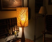 Tree of Life Full Moon Painted & Pierced OOAK Lampshade With Vintage Midcentury Lamp