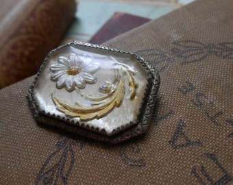 antique flower daisy reverse carved intaglio brass brooch with c clasp - art deco goofus glass