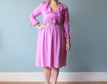 plus size dress/ lavender ruffle dress/ 1980s/ xl