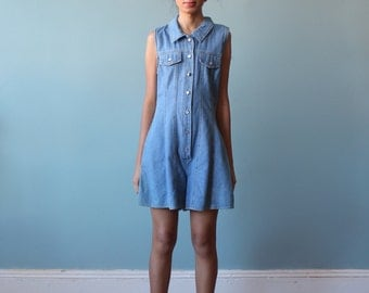 light blue denim romper / button front denim shorts romper / 1990s / xs - small