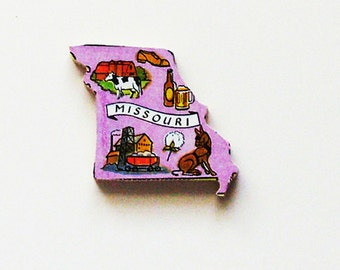 1960s Missouri Brooch - Pin / Unique Wearable History Gift Idea / Upcycled Vintage Hand Cut Wood Jewelry / Timeless Gift Under 25