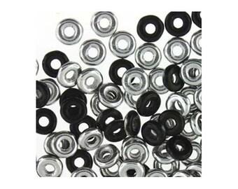 Czech Glass O Beads 3.8mm Disc Bead 38316 8.1gr, Jet Black Labrador , 1.3mm Hole, Czech Pressed Glass, Disk Beads, Rondelle Beads